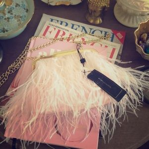NWT BCBG Opal Feather clutch in shell pink